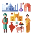 India flat icons with national landmarks vector image