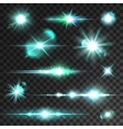 Neon blue light flashes and sparks vector image
