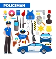Profession Policeman Icons Set with Police Car vector image