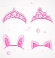 Shining pink girls tiaras with diamonds vector image