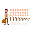 cartoon man constructor isolated vector image vector image