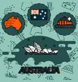 australia flat concept icons vector image
