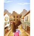 A young lady going to the saloon bar vector image