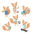 foxes with hobbies vector image vector image