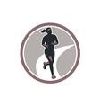 Female Marathon Runner Run Retro vector image vector image