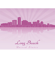 Long Beach skyline in purple radiant orchid vector image