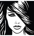 girl portrait monochrome vector image