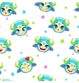 Seamless pattern with funny blue monster faces vector image