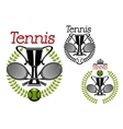Tennis sport emblems with game items vector image