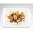white tablet with bitcoin cryptocurrency vector image
