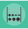 Metal barbells and weights on rack vector image
