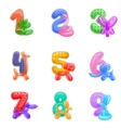 Birthday anniversary numbers with balloons animals vector image vector image