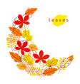 card with stylized autumn foliage falling leaves vector image