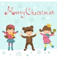 Christmas card with happy kids vector image vector image