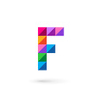 Letter F mosaic logo icon design template elements vector image vector image