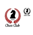 Chess club emblem with horse figure vector image