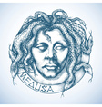Mythological Medusa portrait with snakes in place vector image