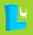 Letter L Animal Lama Animals Alphabet vector image