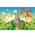 Panorama with medieval castle and dragon vector image