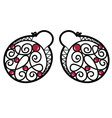 Wire wrapped beaded earrings vector image