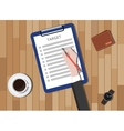 target checklist with clipboard and coffee wallet vector image