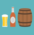 glass of beer bottle and barrel vector image