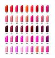 set of color lipsticks palette vector image