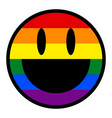 smiling face smiley icon lgbt rainbow flag vector image