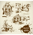 Vintage Hand Drawn Landscape Sketch Set vector image