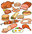 Meat products icon set vector image vector image