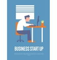Business start up banner with businessman vector image