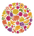 Stylized icons of vegetables and fruit vector image