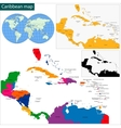 Caribbean map vector image vector image