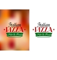 Italian pizza sign or label vector image vector image