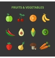 Fruits and vegetables flat icons vector image vector image