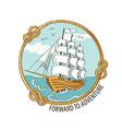 Nautical emblem with sailing ship vector image