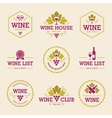Colored Wine Labels and Badges vector image