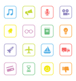 colorful web icon set 5 with rounded rectangle vector image