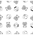 baby girl baby boy and teddy bear seamless black vector image