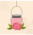 beautiful mason jar with floral decoration vector image