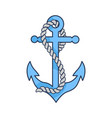 blue heavy anchor with rope isolated vector image