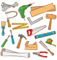Carpenters tools and outfit vector image