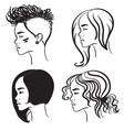 Four face in profile silhouettes of girls vector image