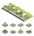 isometric suburban buildings composition vector image