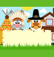 thanksgiving day background with rabbit dog vector image