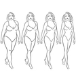 Woman on the way to lose weight vector image