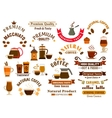 Coffee and desserts icons for cafe signboards vector image