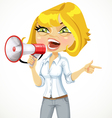 Cute girl emotionally shouts in a megaphone vector image