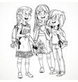 Three cute schoolgirl with a schoolbag socialize vector image vector image
