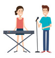couple singing and playing synthesizer vector image